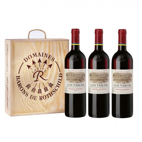 3er Holz  Kisten mit Los Vascos - Wein Geschenk